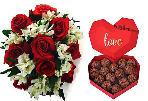 3870  Red roses with astromelia and a heart full of brigadeiros